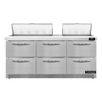 Continental Refrigerator SW72N18-FB-D 72 inch 6 Drawer Front Breathing Refrigerated Sandwich Prep Table