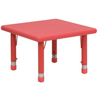 Flash Furniture YU-YCX-002-2-SQR-TBL-RED-GG 24 inch Red Plastic Square Adjustable Height Activity Table