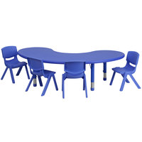 Flash Furniture YU-YCX-0043-2-MOON-TBL-BLUE-E-GG 65 inch x 35 inch Blue Plastic Half-Moon Adjustable Height Activity Table with 4 Chairs