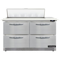 Continental Refrigerator SW48N10C-FB-D 48 inch 4 Drawer Cutting Top Front Breathing Refrigerated Sandwich Prep Table