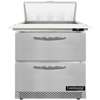 Continental Refrigerator SW32N8C-FB-D 32 inch 2 Drawer Cutting Top Front Breathing Refrigerated Sandwich Prep Table