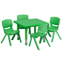Flash Furniture YU-YCX-0023-2-SQR-TBL-GREEN-E-GG 24 inch Green Plastic Square Adjustable Height Activity Table with 4 Chairs