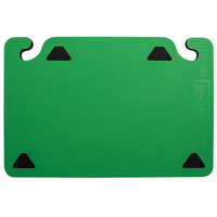 San Jamar CBQGSC1218GN QuadGrip™ 18 inch x 12 inch x 1/8 inch Green Cutting Board with Smart Check Visual Indicator Refill - 2/Pack