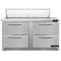 Continental Refrigerator SW60N12-FB-D 60 inch 4 Drawer Front Breathing Refrigerated Sandwich Prep Table