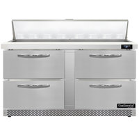 Continental Refrigerator SW60N16-FB-D 60 inch 4 Drawer Front Breathing Refrigerated Sandwich Prep Table