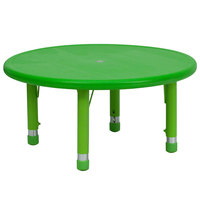Flash Furniture YU-YCX-007-2-ROUND-TBL-GREEN-GG 33 inch Green Plastic Round Adjustable Height Activity Table