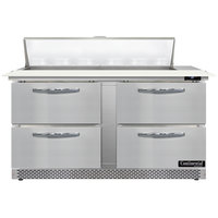 Continental Refrigerator SW60N12C-FB-D 60 inch 4 Drawer Cutting Top Front Breathing Refrigerated Sandwich Prep Table