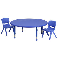 Flash Furniture YU-YCX-0053-2-ROUND-TBL-BLUE-R-GG 45 inch Blue Plastic Round Adjustable Height Activity Table with Two Chairs