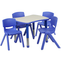 Flash Furniture YU-YCY-098-0034-RECT-TBL-BLUE-GG 21 7/8 inch x 26 5/8 inch Blue Plastic Rectangular Adjustable Height Activity Table with Four Chairs