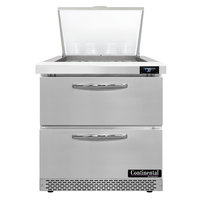 Continental Refrigerator SW32-N-12M-FB-D 32 inch 2 Drawer Mighty Top Front Breathing Refrigerated Sandwich Prep Table