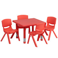 Flash Furniture YU-YCX-0023-2-SQR-TBL-RED-E-GG 24 inch Red Plastic Square Adjustable Height Activity Table with Four Chairs
