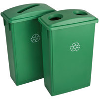 Lavex Janitorial 23 Gallon Green Slim Recycle Station with Bottle / Can and Paper Lids
