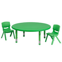 Flash Furniture YU-YCX-0053-2-ROUND-TBL-GREEN-R-GG 45 inch Green Plastic Round Adjustable Height Activity Table with Two Chairs