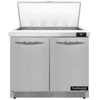 Continental Refrigerator SW36-N-15M-FB 36 inch 2 Door Mighty Top Front Breathing Refrigerated Sandwich Prep Table