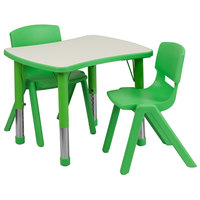 Flash Furniture YU-YCY-098-0032-RECT-TBL-GREEN-GG 21 7/8 inch x 26 5/8 inch Green Plastic Rectangular Adjustable Height Activity Table with Two Chairs