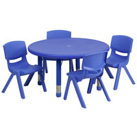 Flash Furniture YU-YCX-0073-2-ROUND-TBL-BLUE-E-GG 33 inch Blue Plastic Round Adjustable Height Activity Table with Four Chairs