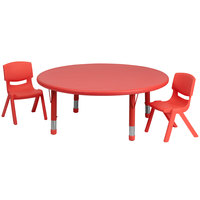 Flash Furniture YU-YCX-0053-2-ROUND-TBL-RED-R-GG 45 inch Red Plastic Round Adjustable Height Activity Table with Two Chairs