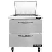 Continental Refrigerator SW32-N-12M-D 32 inch 2 Drawer Refrigerated Sandwich Prep Table