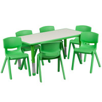 Flash Furniture YU-YCY-060-0036-RECT-TBL-GREEN-GG 23 5/8 inch x 47 1/4 inch Green Plastic Rectangular Adjustable Height Activity Table with Six Chairs