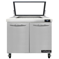 Continental Refrigerator SW36-N-12M-HGL 36 inch 2 Door Mighty Top Hinged Glass Lid Refrigerated Sandwich Prep Table