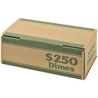 MMF Industries 240141002 Pack 'N Ship Green Coin Box - $250, Dimes - 50/Case