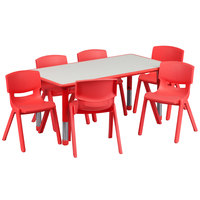 Flash Furniture YU-YCY-060-0036-RECT-TBL-RED-GG 23 5/8 inch x 47 1/4 inch Red Plastic Rectangular Adjustable Height Activity Table with Six Chairs