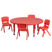 Flash Furniture YU-YCX-0053-2-ROUND-TBL-RED-E-GG 45 inch Red Plastic Round Adjustable Height Activity Table with Four Chairs