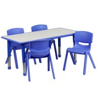Flash Furniture YU-YCY-060-0034-RECT-TBL-BLUE-GG 23 5/8 inch x 47 1/4 inch Blue Plastic Rectangular Adjustable Height Activity Table with Four Chairs