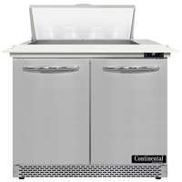 Continental Refrigerator SW36-N-8C-FB 36 inch 2 Door Cutting Top Front Breathing Refrigerated Sandwich Prep Table