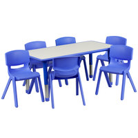 Flash Furniture YU-YCY-060-0036-RECT-TBL-BLUE-GG 23 5/8 inch x 47 1/4 inch Blue Plastic Rectangular Adjustable Height Activity Table with Six Chairs