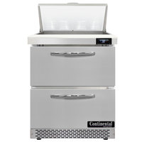Continental Refrigerator SW27-N-8-FB-D 27 inch 2 Drawer Front Breathing Refrigerated Sandwich Prep Table