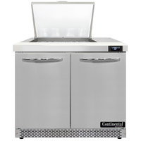 Continental Refrigerator SW36-N-12M-FB 36 inch 2 Door Mighty Top Front Breathing Refrigerated Sandwich Prep Table