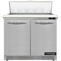 Continental Refrigerator SW36-N-10C-FB 36 inch 2 Door Cutting Top Front Breathing Refrigerated Sandwich Prep Table