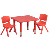 Flash Furniture YU-YCX-0023-2-SQR-TBL-RED-R-GG 24 inch Red Plastic Square Adjustable Height Activity Table with Two Chairs