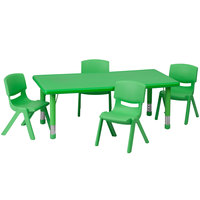 Flash Furniture YU-YCX-0013-2-RECT-TBL-GREEN-R-GG 24 inch x 48 inch Green Plastic Rectangular Adjustable Height Activity Table with Four Chairs