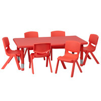 Flash Furniture YU-YCX-0013-2-RECT-TBL-RED-E-GG 24 inch x 48 inch Red Plastic Rectangular Adjustable Height Activity Table with Six Chairs