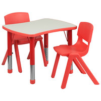 Flash Furniture YU-YCY-098-0032-RECT-TBL-RED-GG 21 7/8 inch x 26 5/8 inch Red Plastic Rectangular Adjustable Height Activity Table with Two Chairs