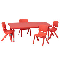 Flash Furniture YU-YCX-0013-2-RECT-TBL-RED-R-GG 24 inch x 48 inch Red Plastic Rectangular Adjustable Height Activity Table with Four Chairs
