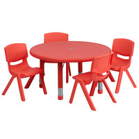 Flash Furniture YU-YCX-0073-2-ROUND-TBL-RED-E-GG 33 inch Red Plastic Round Adjustable Height Activity Table with Four Chairs