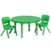 Flash Furniture YU-YCX-0073-2-ROUND-TBL-GREEN-R-GG 33 inch Green Plastic Round Adjustable Height Activity Table with Two Chairs