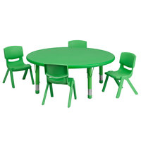 Flash Furniture YU-YCX-0053-2-ROUND-TBL-GREEN-E-GG 45 inch Green Plastic Round Adjustable Height Activity Table with Four Chairs