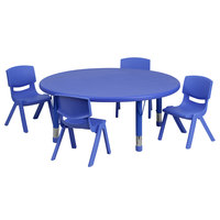 Flash Furniture YU-YCX-0053-2-ROUND-TBL-BLUE-E-GG 45 inch Blue Plastic Round Adjustable Height Activity Table with Four Chairs