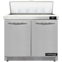 Continental Refrigerator SW36-N-10-FB 36 inch 2 Door Front Breathing Refrigerated Sandwich Prep Table