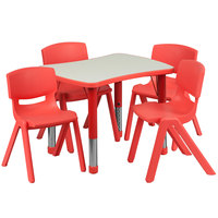 Flash Furniture YU-YCY-098-0034-RECT-TBL-RED-GG 21 7/8 inch x 26 5/8 inch Red Plastic Rectangular Adjustable Height Activity Table with Four Chairs