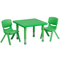 Flash Furniture YU-YCX-0023-2-SQR-TBL-GREEN-R-GG 24 inch Green Plastic Square Adjustable Height Activity Table with Two Chairs