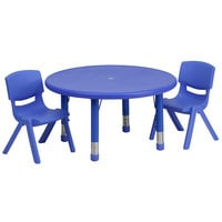 Flash Furniture YU-YCX-0073-2-ROUND-TBL-BLUE-R-GG 33 inch Blue Plastic Round Adjustable Height Activity Table with Two Chairs