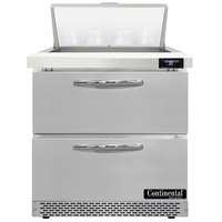 Continental Refrigerator SW32-N-8-FB-D 32 inch 2 Drawer Front Breathing Refrigerated Sandwich Prep Table