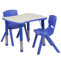 Flash Furniture YU-YCY-098-0032-RECT-TBL-BLUE-GG 21 7/8 inch x 26 5/8 inch Blue Plastic Rectangular Adjustable Height Activity Table with Two Chairs