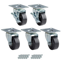 Avantco 178A3PCKIT5 3 inch Swivel Plate Casters with Mounting Hardware - 5/Set