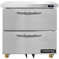 Continental Refrigerator SWF32N-U-D 32 inch Low Profile Undercounter Freezer with Two Drawers